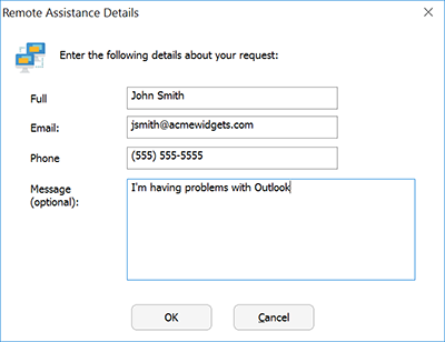Remote Assistance Request Dialog